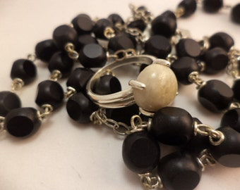 ring, white jade, jade, silver, ring size 7, jade jewelry, jade ring, silver ring, silver jade, round cabochon, handmade ring