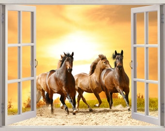 Horses 3D Window Wall Sticker, Wall Decal Horses
