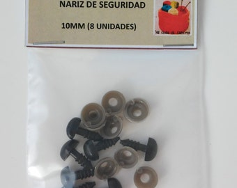 10mm black nose of security (8 units) - BLACK Safety nose 10 mm BLACK (8 units)