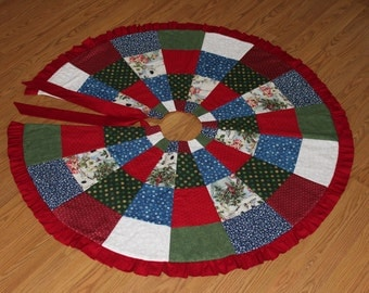 Christmas Tree Skirt 009 with reds,blues and greens