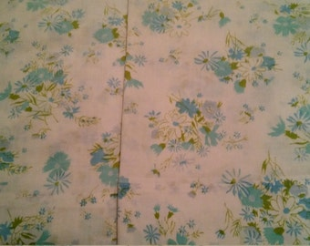Free shipping-pair/set of Floral blue/teal/green pillowcases- shabby/boho/cottage chic