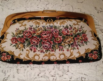 tapestry clutch/tapestry purse/ tapestry handbag boho chic  rootbeer lucite clasp/handle