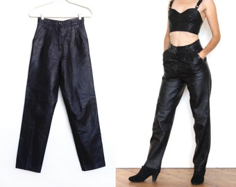 Vintage High Waisted Black Leather Pants Small- Guess- Tapered
