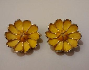 Vintage Yellow Flower Clip on Earrings