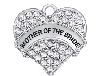 Mother of the Bride Charm, Silver Plated with Rhinestones (1J-246) NEW1