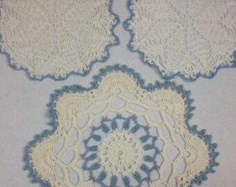 Vintage Set of Three Crochet Doilies With Blue Trim