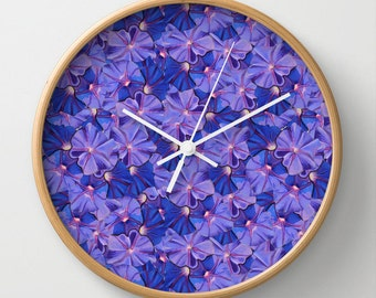 Purple Flowers Galore Wall Clock