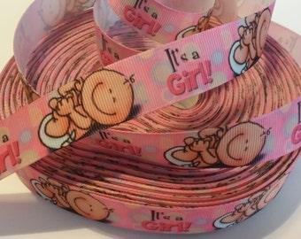 """It's a Girl!  Baby Girl inspired 7/8"""" Grosgrain Ribbon"""