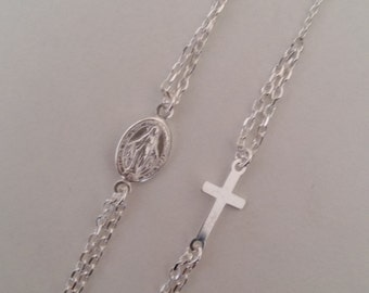 925 sterling silver Rosary necklace.