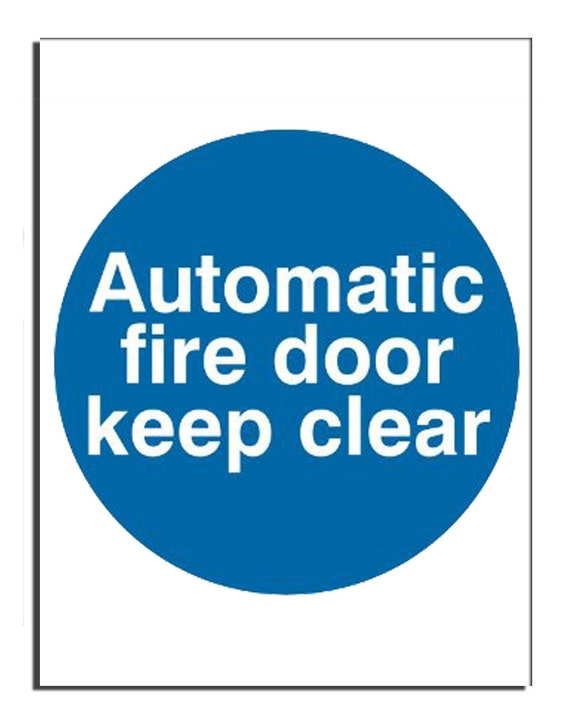 Keep Clear Of Swinging Door : Automatic fire door keep clear safety sign