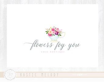Tea Logo Design Floral Logo Shabby Chic Logo Events Logo Wedding Logo Photography Logo Watermark
