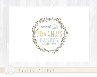 Cake Logo Design Rustic Bakery Sweets Boutique Watermark