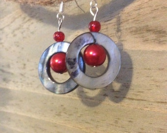 Blue silver circle earrings