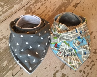 Baby drool bibs/pick any two/grey triangles and map bib