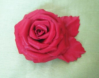 Brooch leather Rose, Red Rose Brooch leather, Red Rose Brooch handmade, leather brooch rose, Red Rose brooch, rose brooch