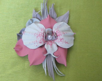 Flower Brooch orchid leather, Сream orchid Brooch leather,  pink orchid Brooch flower, orchid brooch leather, orchid brooch, Wedding brooch