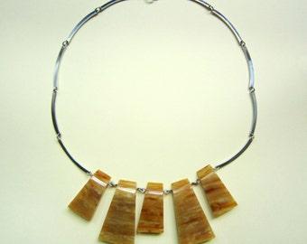 Vintage bakelite and steel necklace, France 1930s