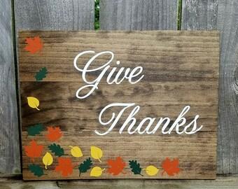 Fall Decor - Give Thanks Sign - Thanksgiving Decor - Fall Leaves Decor - Fall Wooden Sign - Thanksgiving Wooden Sign - Autumn Decor
