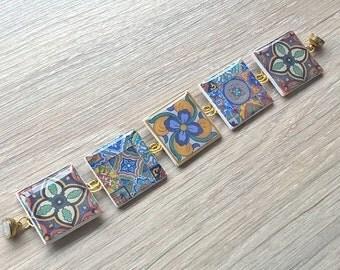 Talavera tiles bracelet, Mexican tiles bracelet, tiles bracelet, tile jewelry, azulejos, OOAK bracelet