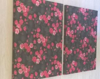 "2 Panel Japanese Cotton Designer Fabric Wall Art ""Rose Fusion"""