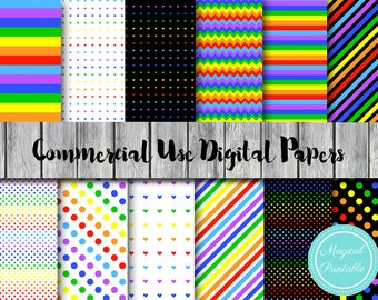 Rainbow Digital Papers, Colors of the Rainbow Scrapbook Papers, Commercial Use, Rainbow Scrapbook Digital Papers, Digital Background, DP29