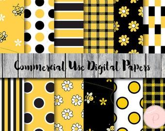 Bee Digital Paper, Honey bee, Bumble bee digital papers, Commercial Use, Nautical Scrapbook Digital Papers, Digital Background, DP166