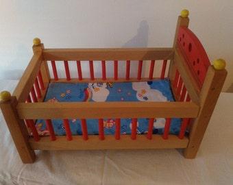Wonderfull wooden doll bed handmade