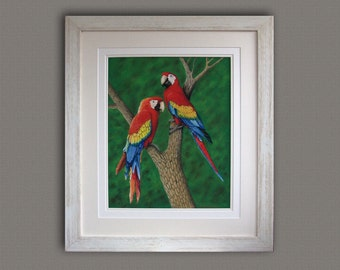 Original Pastel painting,Macaw painting,original Art work,Free Shipping