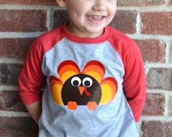 Raglan Turkey Shirt Toddler Boy/Girl - Baby Girl/Boy Raglan Turkey Bodysuit - Thanksgiving tshirt Turkey - Turkey Thanksgiving t-shirt Tee