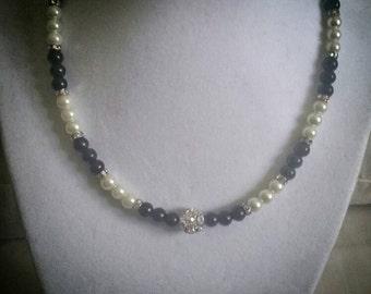 Black n Cream pearl and rhinestone choker.