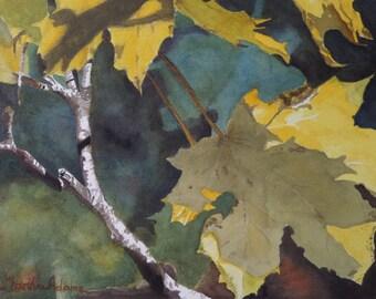 "Maple Leaf art watercolor painting print by Martha Adams, 8""x10"", watercolor, watercolor painting, watercolor leaves, tree"