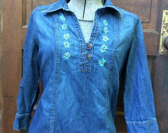 embroidered peasant blouse, embroidered denim top, embroidered boho blouse, embroidered hippie top, floral hippie top, floral boho blouse
