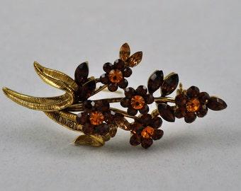 Reduced! Amber rhinestone pin bunch of flowers