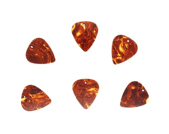 6 x Tortoise Shell Style Guitar Pick Celluloid With Holes For Making Jewellery