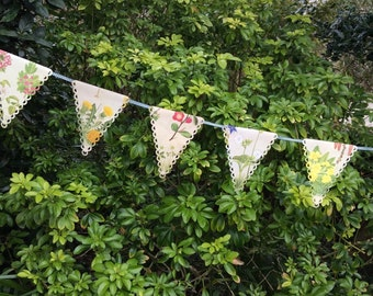 Vintage floral book bunting- spring garland- easter-nature-countryside-wedding -tea party
