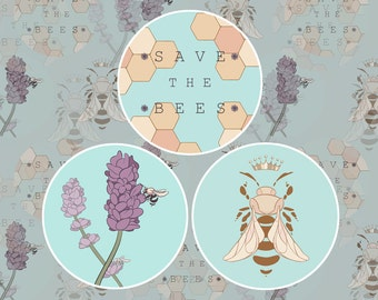 """Individual 1.5"""" Save the Bees Buttons"""