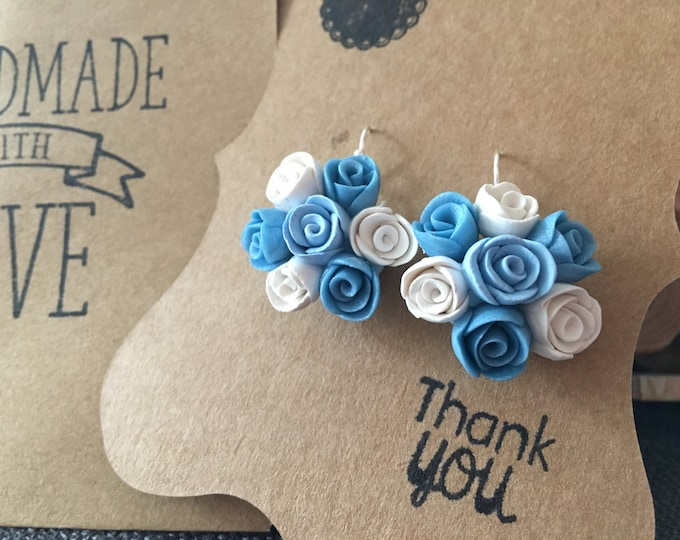 Silver Rose Earrings, Romantic Earrings, Silver Jewelry, Floral jewellery, Blue flower earrings, Bridal jewelry, Wedding jewelry,Blue Rose