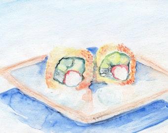 California roll watercolor print