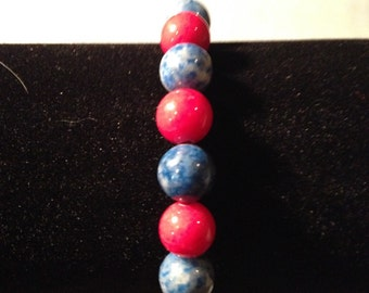Red and blue bracelet