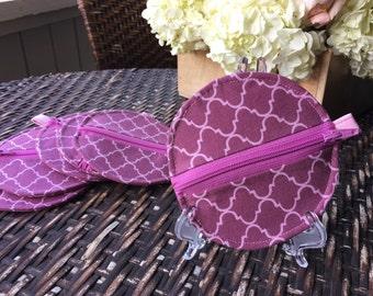 Pink Quatrefoil coin purse, gift card case, earbud case