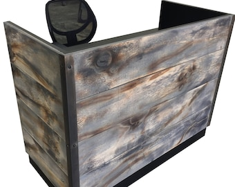Distressed Weathered Wood Plank Reception Desk