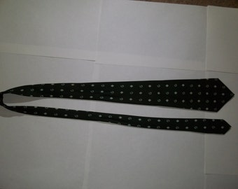 "Vintage Men's Tie By Gucci-Dark Green With Floating ""G"" Logo"