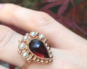ON hold for Honuluvver Stunning Georgian revival 14k rose gold rose cut garnet and pearl ring
