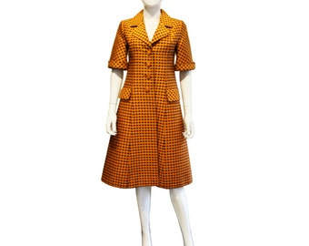 1960's Orange Spotted Couture Coat