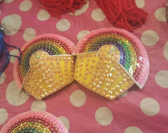 Taste the rainbow Cupcake pasties with sequins and rhinestones gay pride SALE