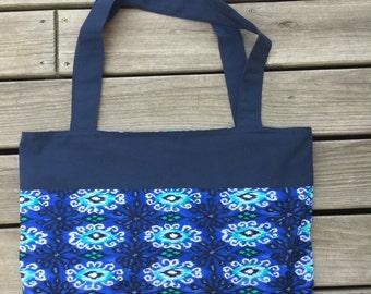 Beach Bag, pool bag, tote, tote bag, blue and green, pocket