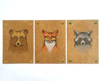 Forest friends set postcards