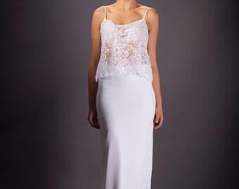 Romantic illusion Wedding dress, White wedding dress, Lace Floral  Bridal dress.