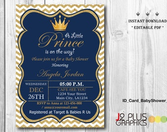 Invite template etsy instant download baby shower invitations printable prince baby shower invitation instant download party invites stopboris Choice Image