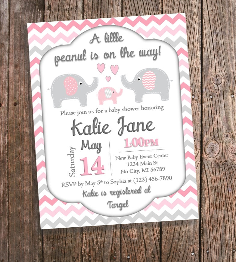 pink elephant baby shower invitation pink by bluepandainvitations
